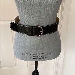 Steven Black with white accent stitch leather belt